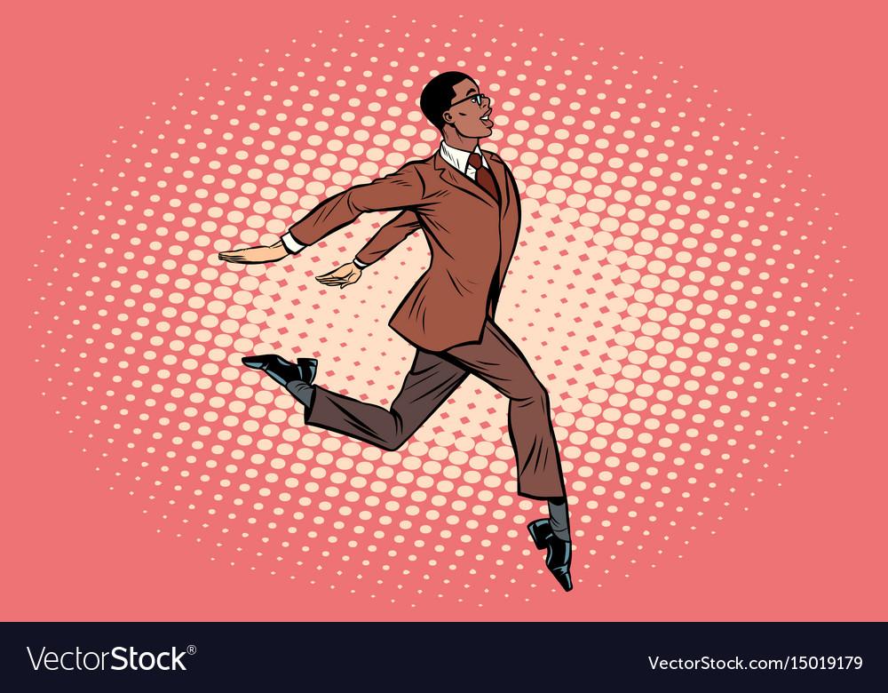 Elegant businessman runs forward