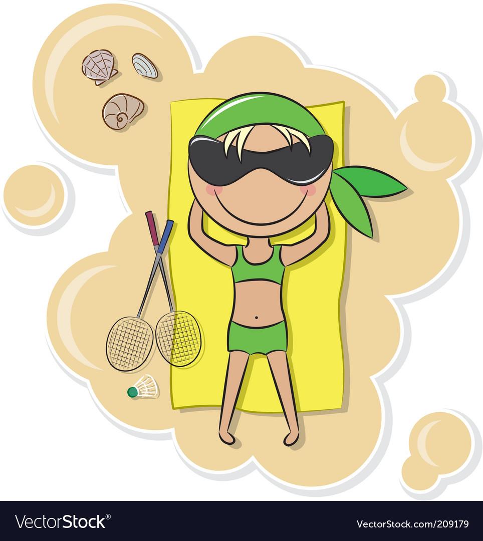 Girl On The Beach Vector. Artist: dobric; File type: Vector EPS