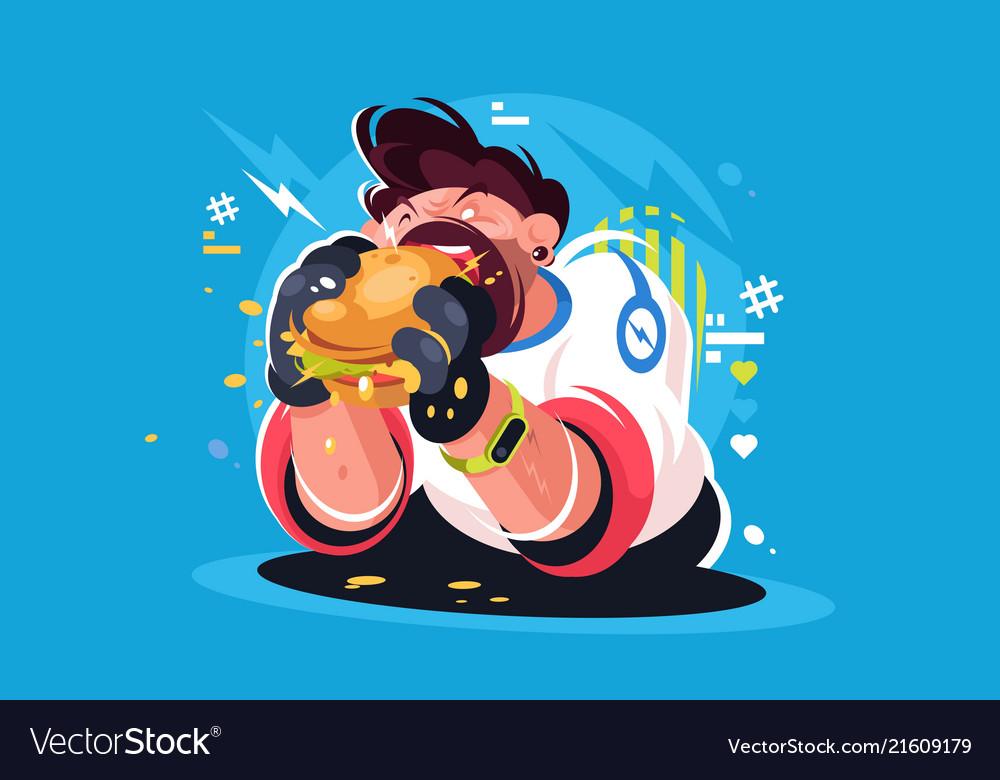 Guy eating huge tasty burger