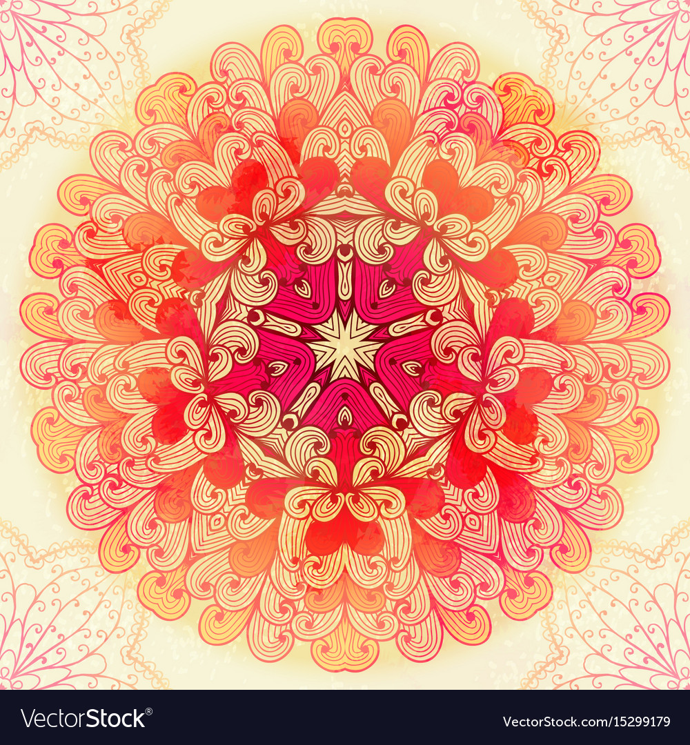 Hand drawn ethnic circular pink ornament