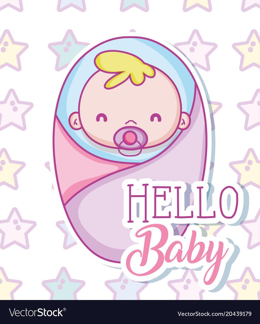 Hello baby cute cartoon vector image