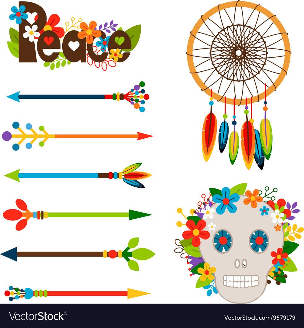 Hippie or boho elements set