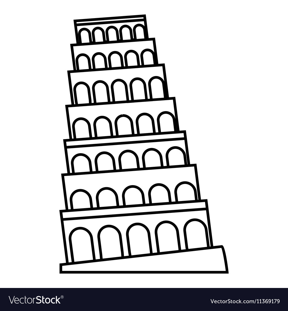 Leaning tower of Pisa icon outline style