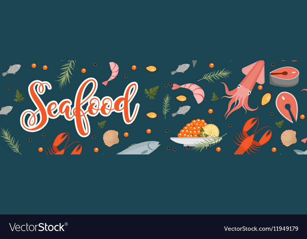 Sea food horizontal banner flat style Seafood