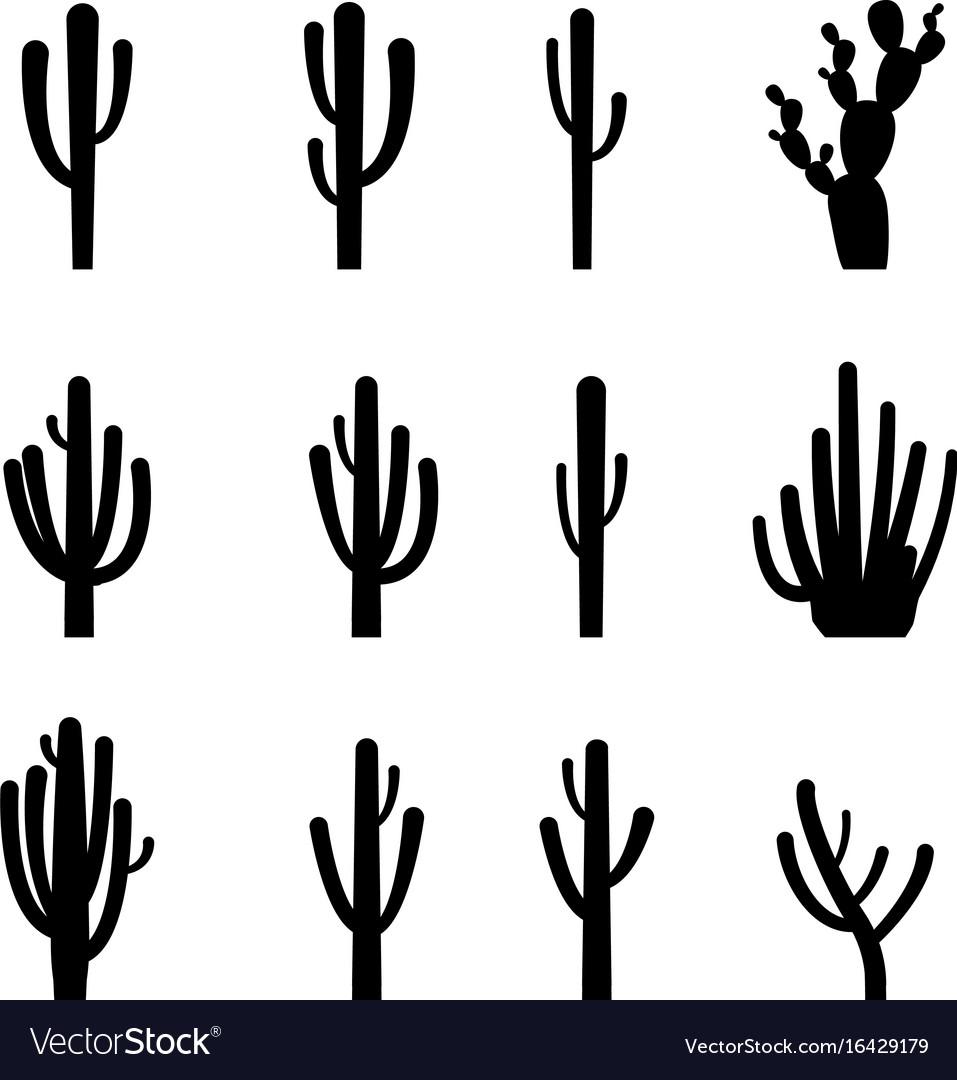Set cactus in black silhouette style