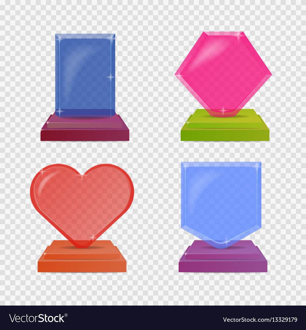 Set realistic glass trophy awards colorful