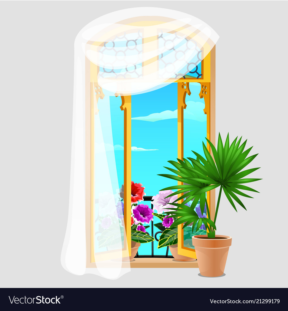 Vintage wooden window with curtains and potted