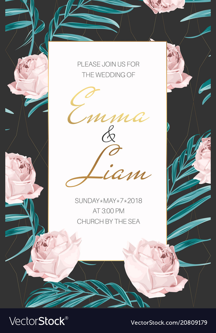 Wedding invitation rose flowers palm tree leaves
