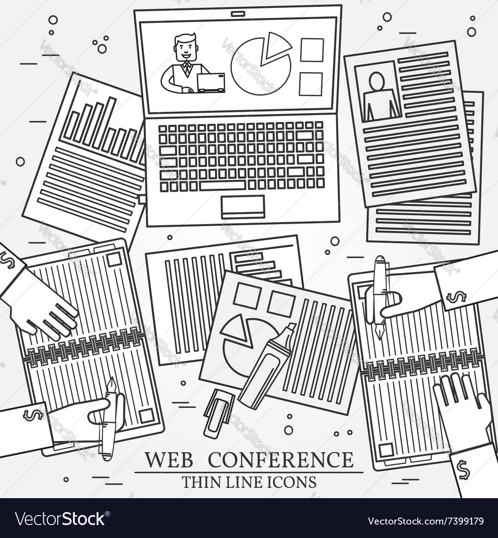 Wibinar web conference concept icon thin line for
