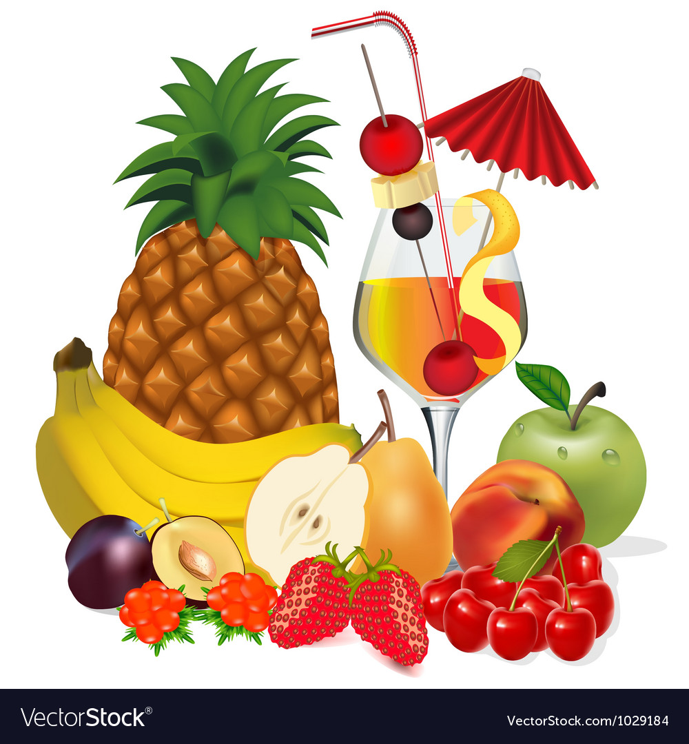 Cocktail and fruits banana apple peach cherry plum vector image