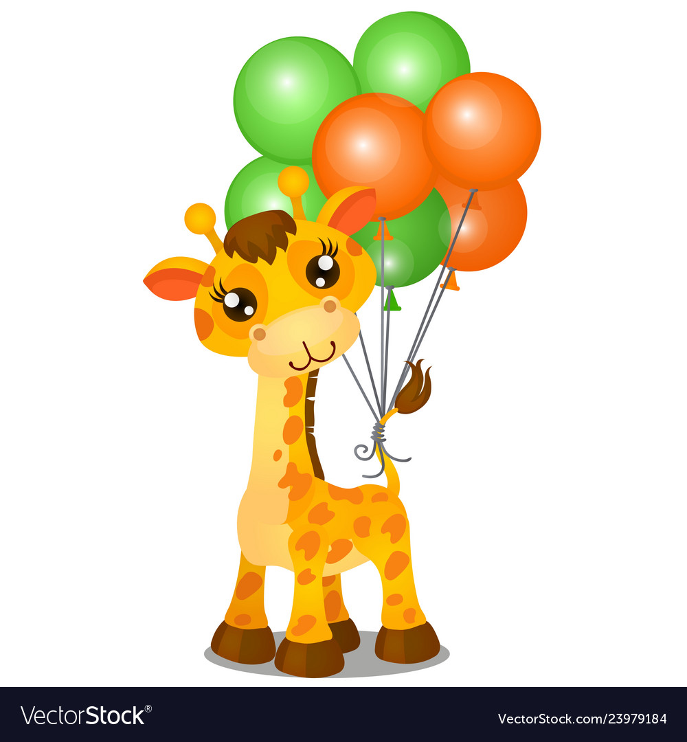 Cute toy giraffe and inflatable colorful balls