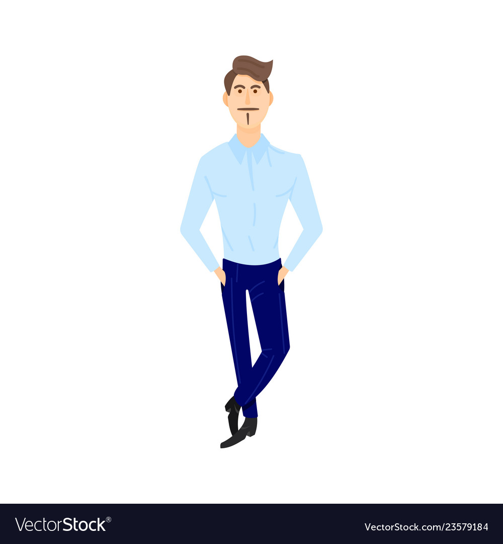 Happy young man standing straight with legs