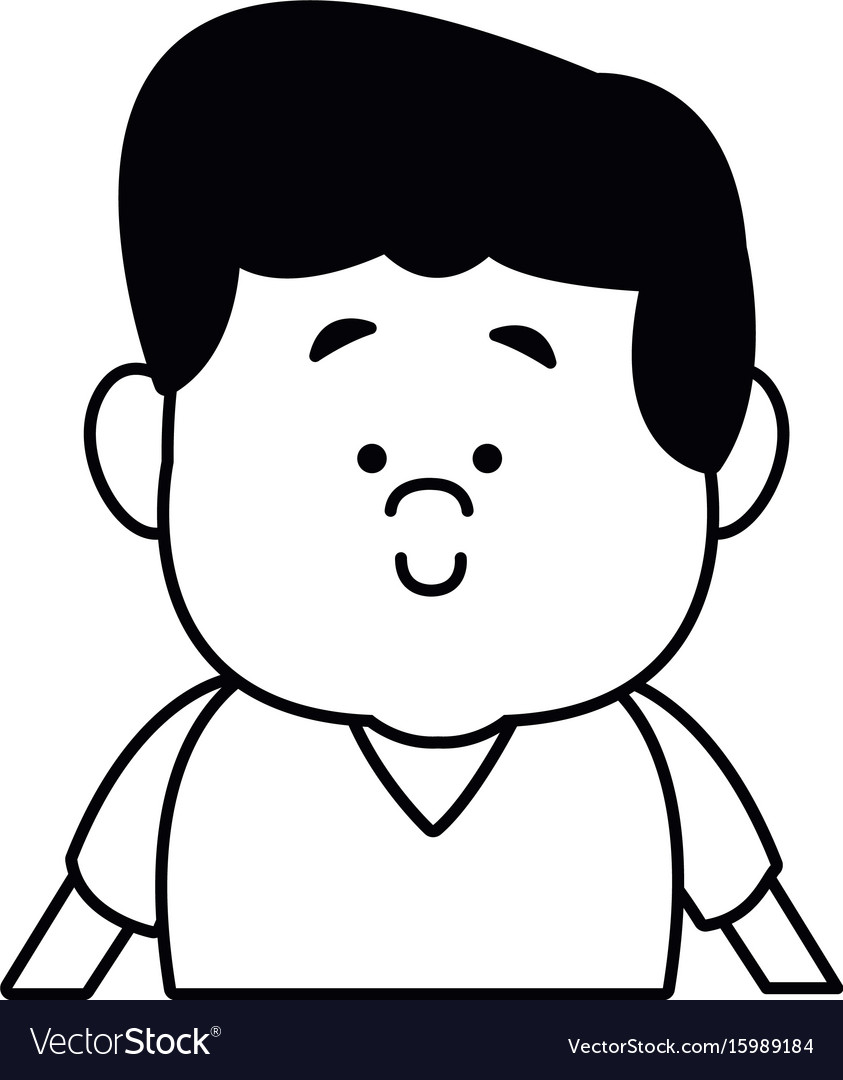 Portrait young boy cartoon person front view