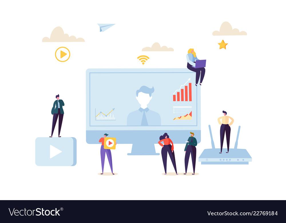 Teleconference online communication concept