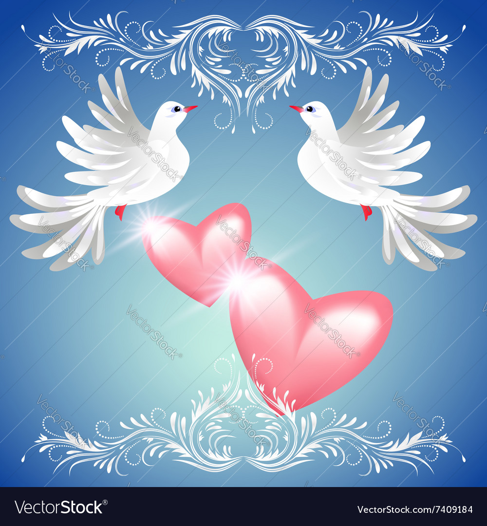 Two dove on blue background with pink hearts