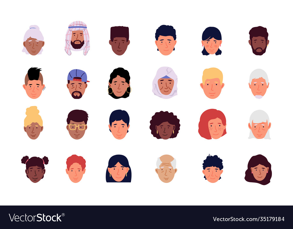 User avatar cartoon men and women modern icons