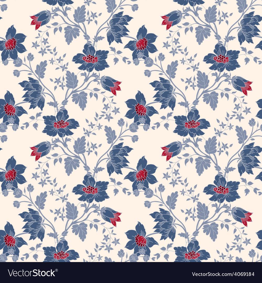 Vintage Floral Seamless Blue Flower Royalty Free Vector