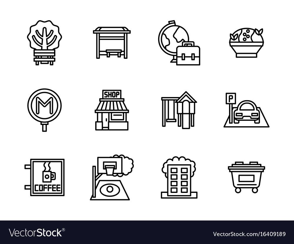 Areas of city black line icons set