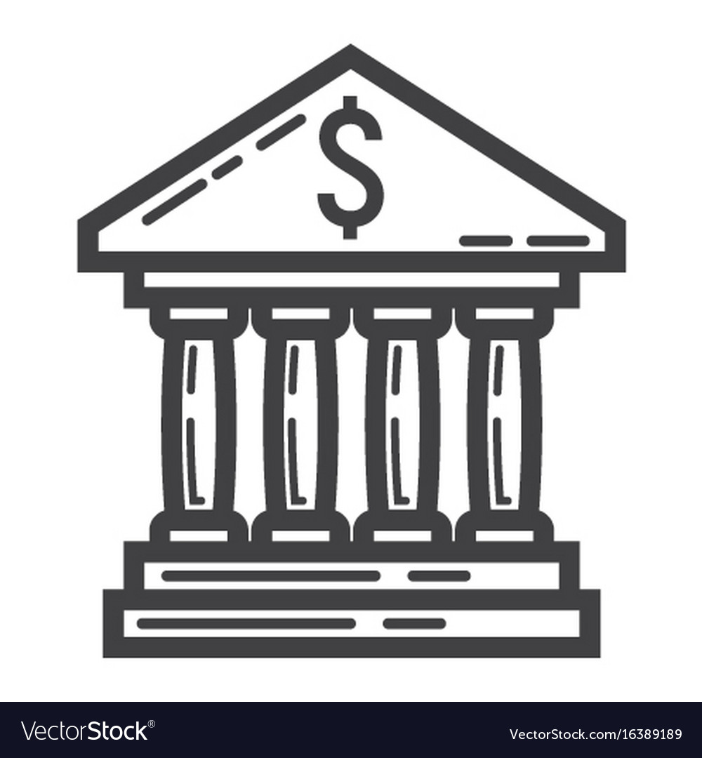 Bank building line icon business and finance