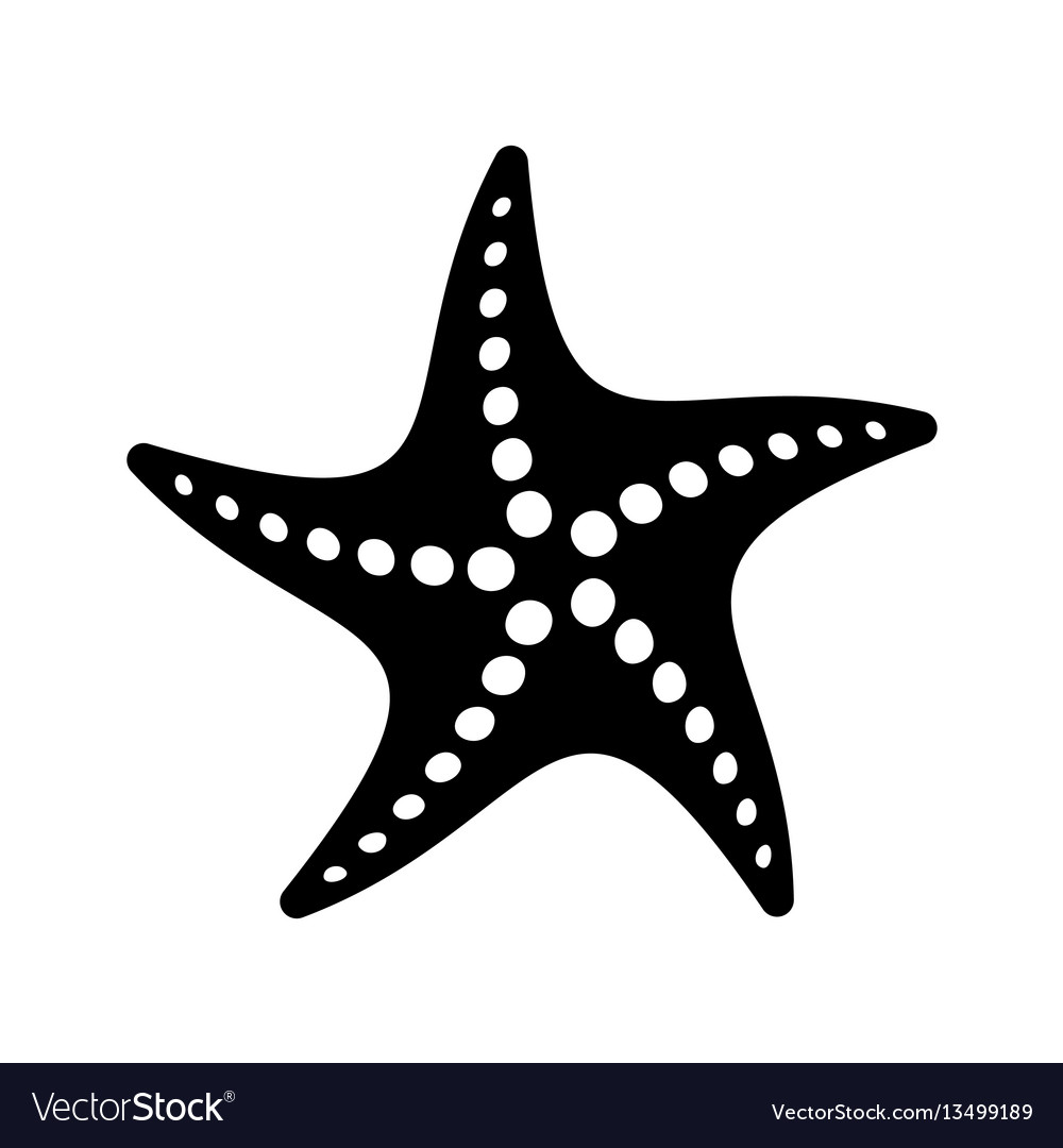 Black simple starfish icon vector image