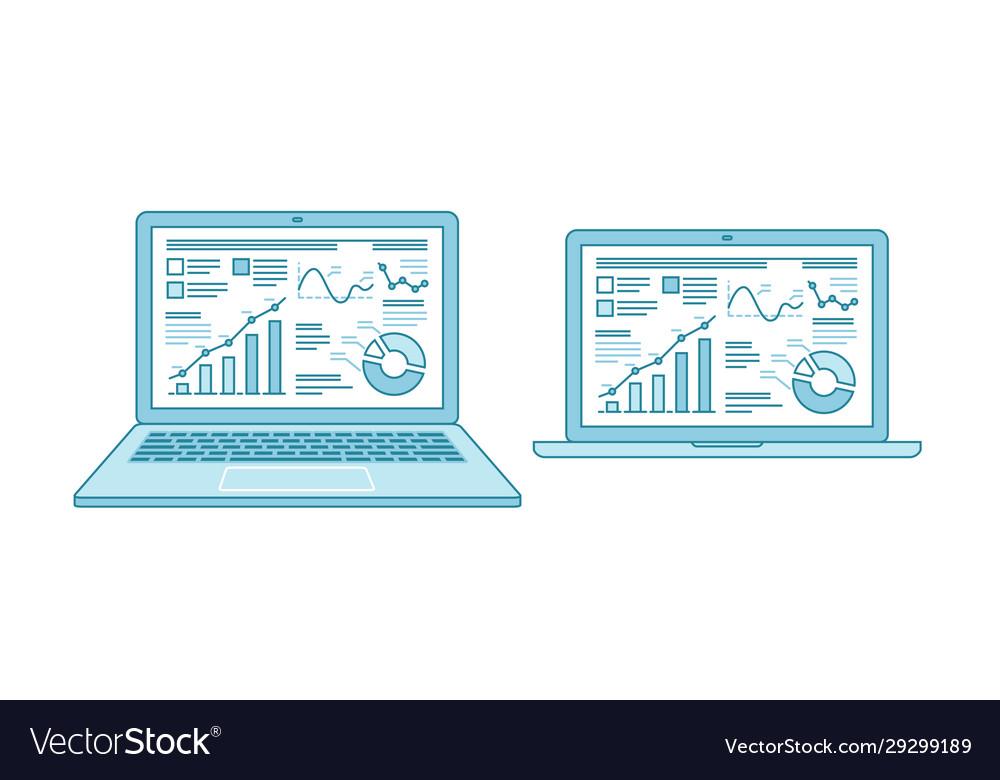 Business charts on laptop desktop screen finance