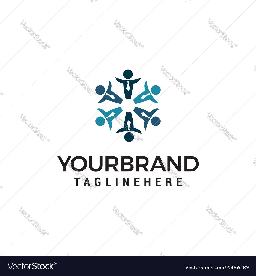 Business people community logo design concept