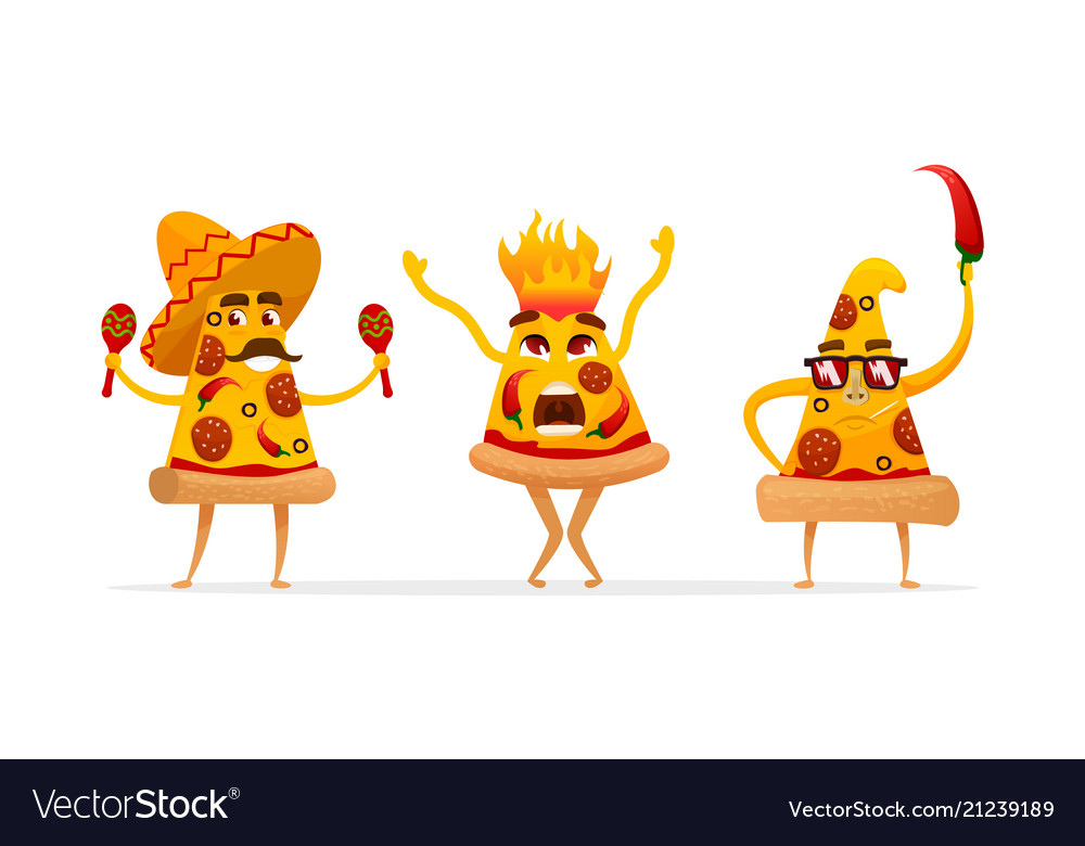 Cartoon spicy pizza characters slices