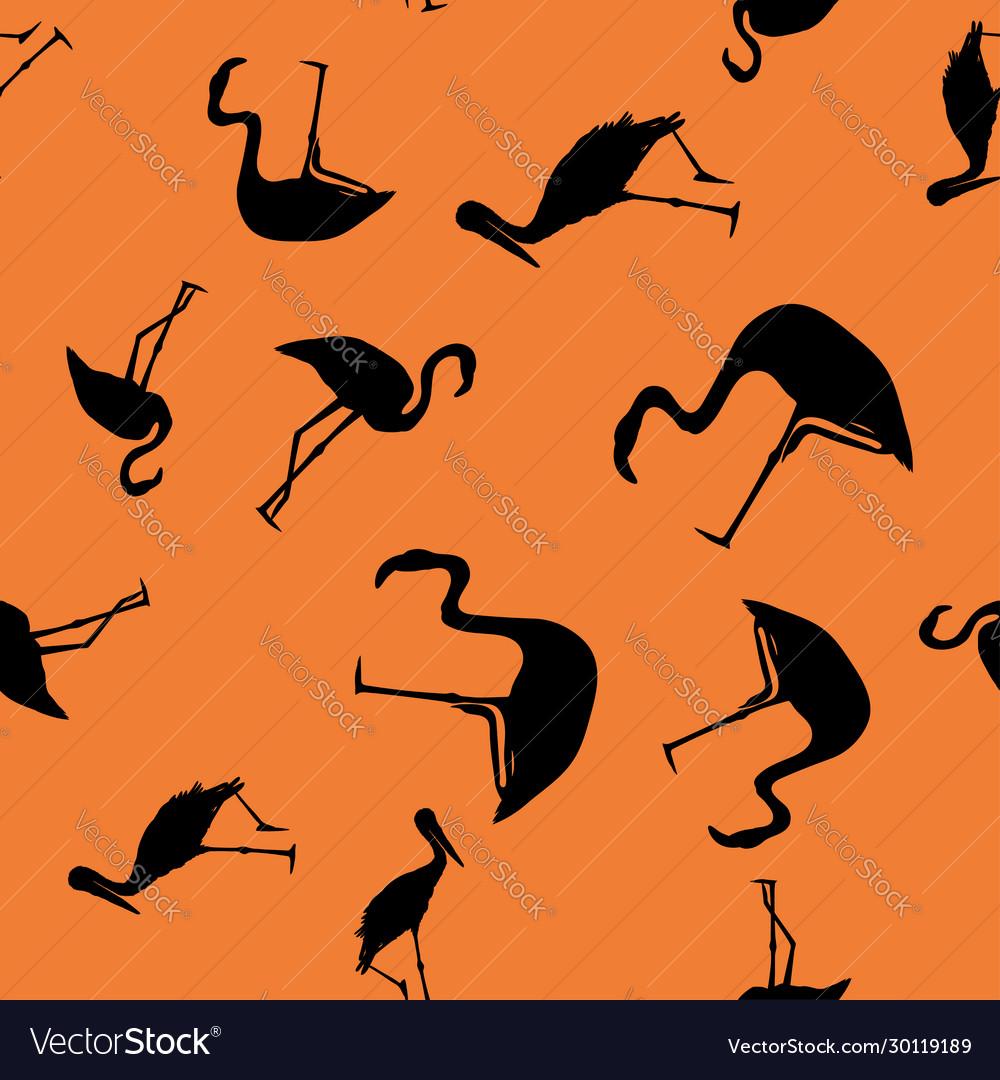 Contour tropical birds seamless orange background
