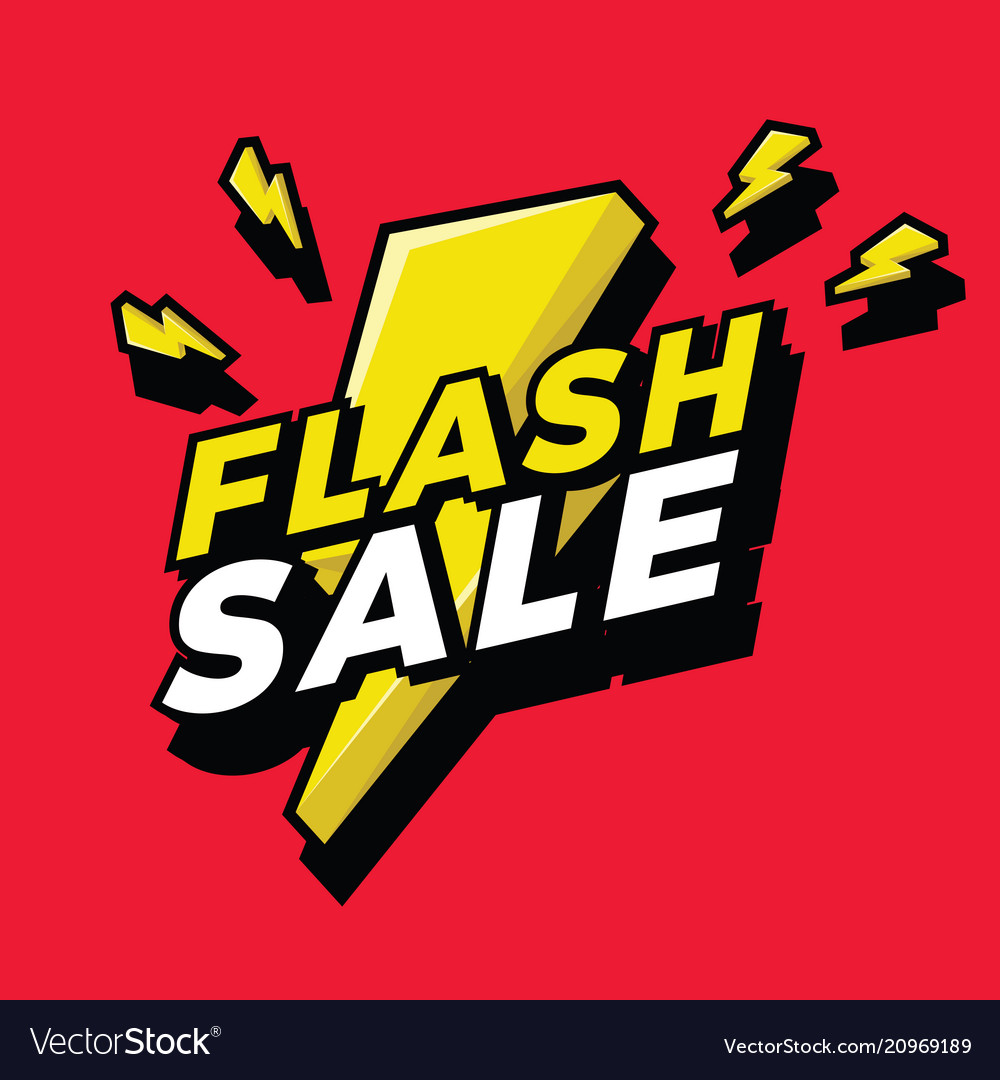 Flash sale sign with bright yellow lightening bolt