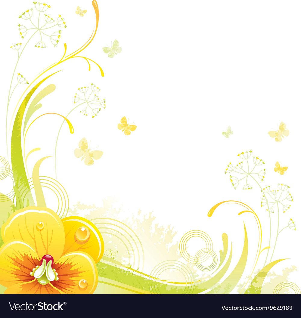 Floral summer background with yellow violet flower