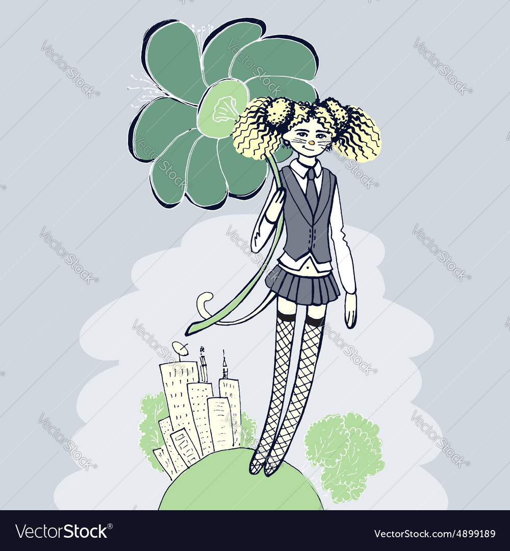 Girl with flower - retro style