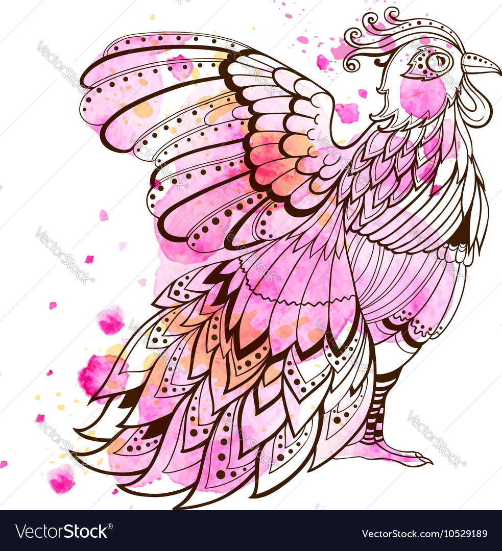 Hand drawn decorative bird
