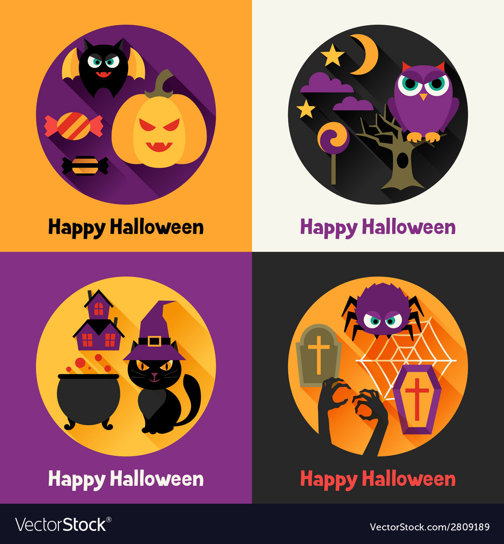 Happy halloween greeting cards in flat design vector image m4hsunfo