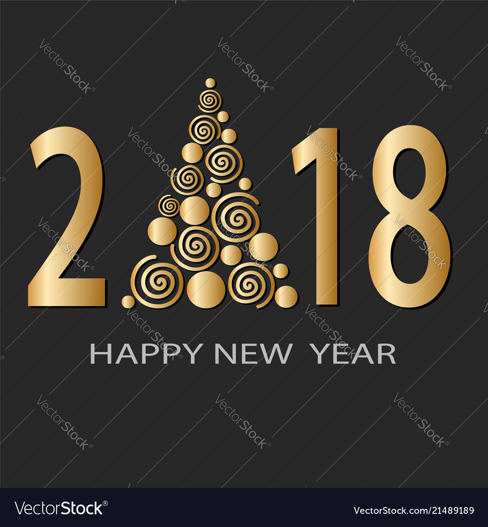 Happy New 2018 Year Greeting Card Design With Vector Image