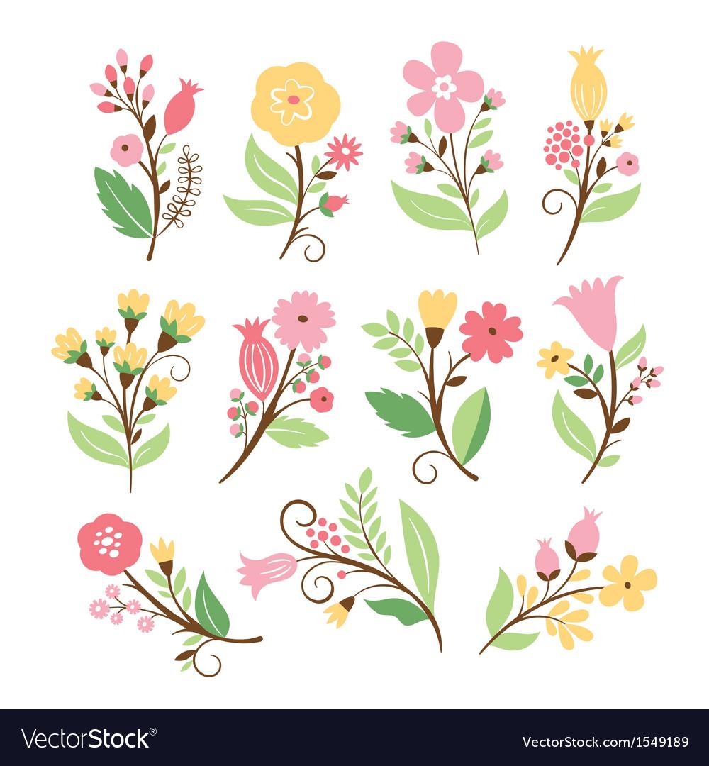 Set cute flowers
