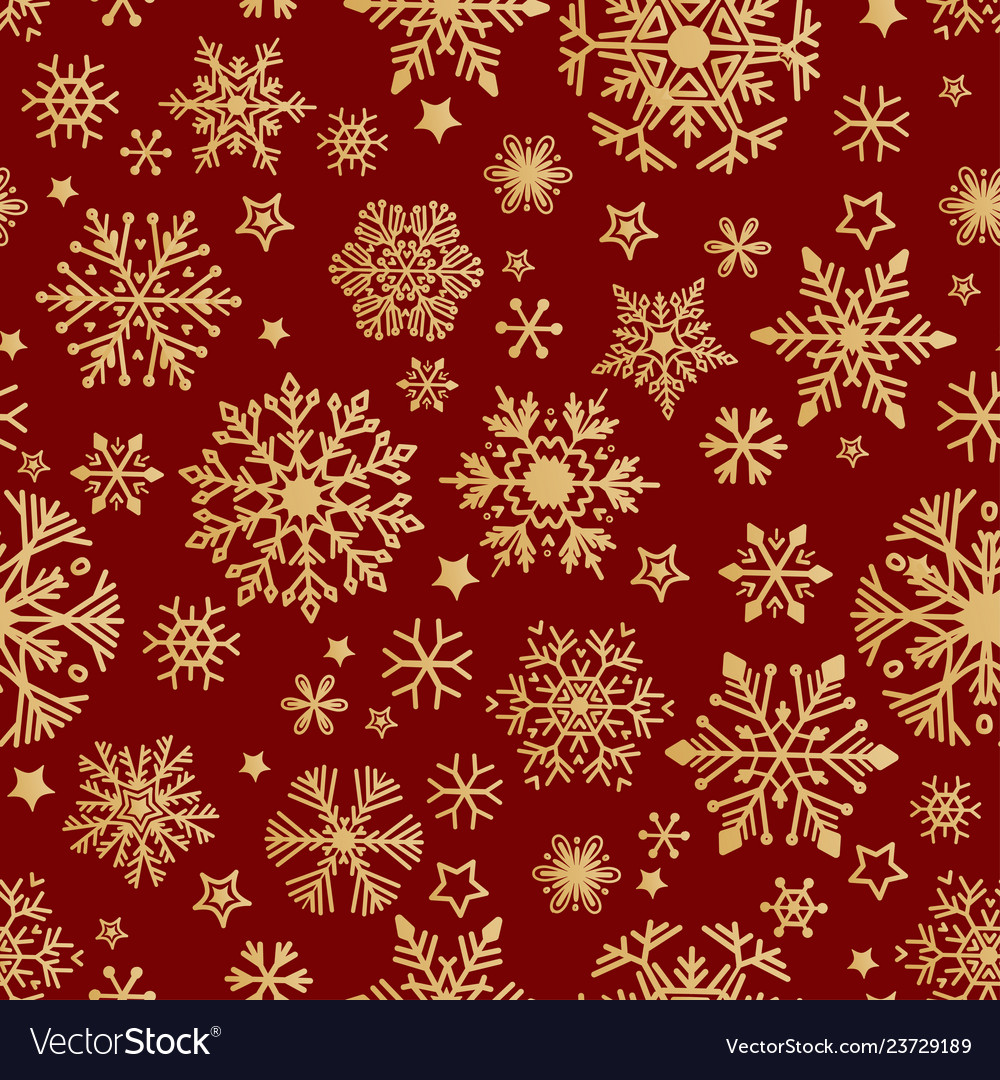 Snow pattern on red background