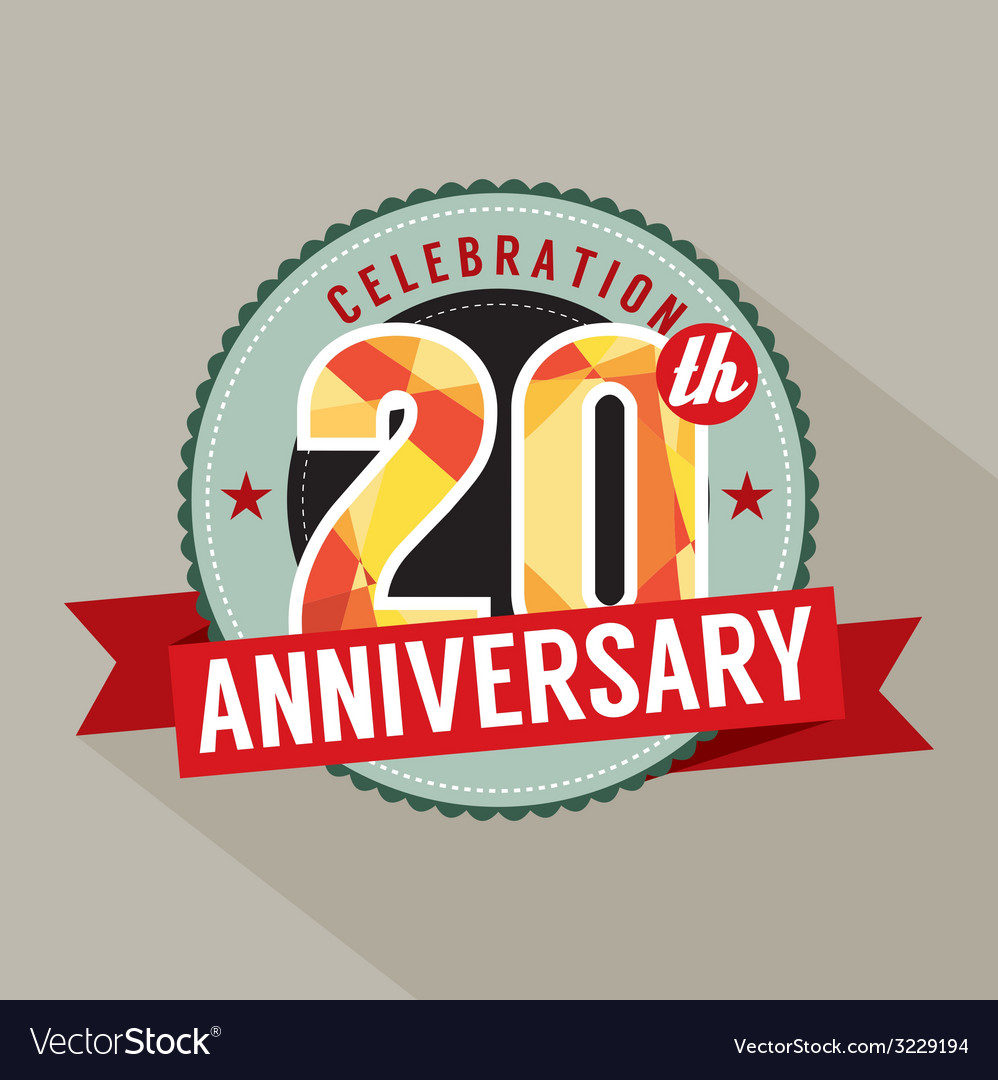 20th Years Anniversary Celebration Design vector image