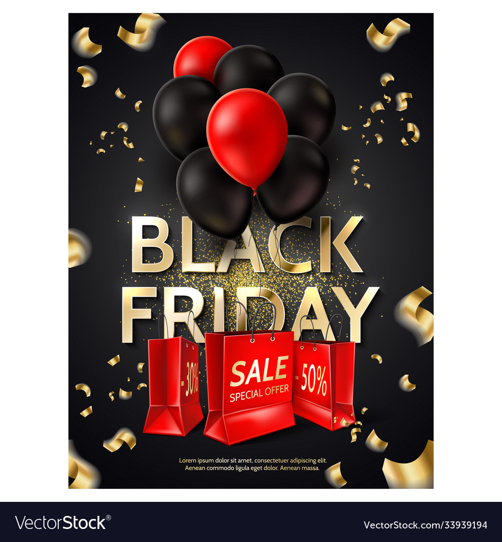 Black friday poster balloons shopping bag