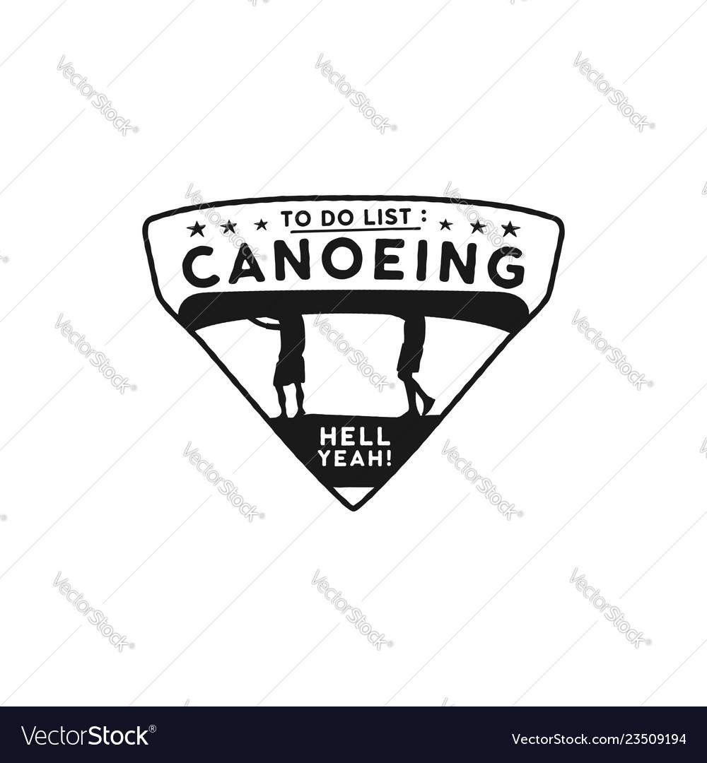 Canoeing logo icon emblem vintage hand drawn
