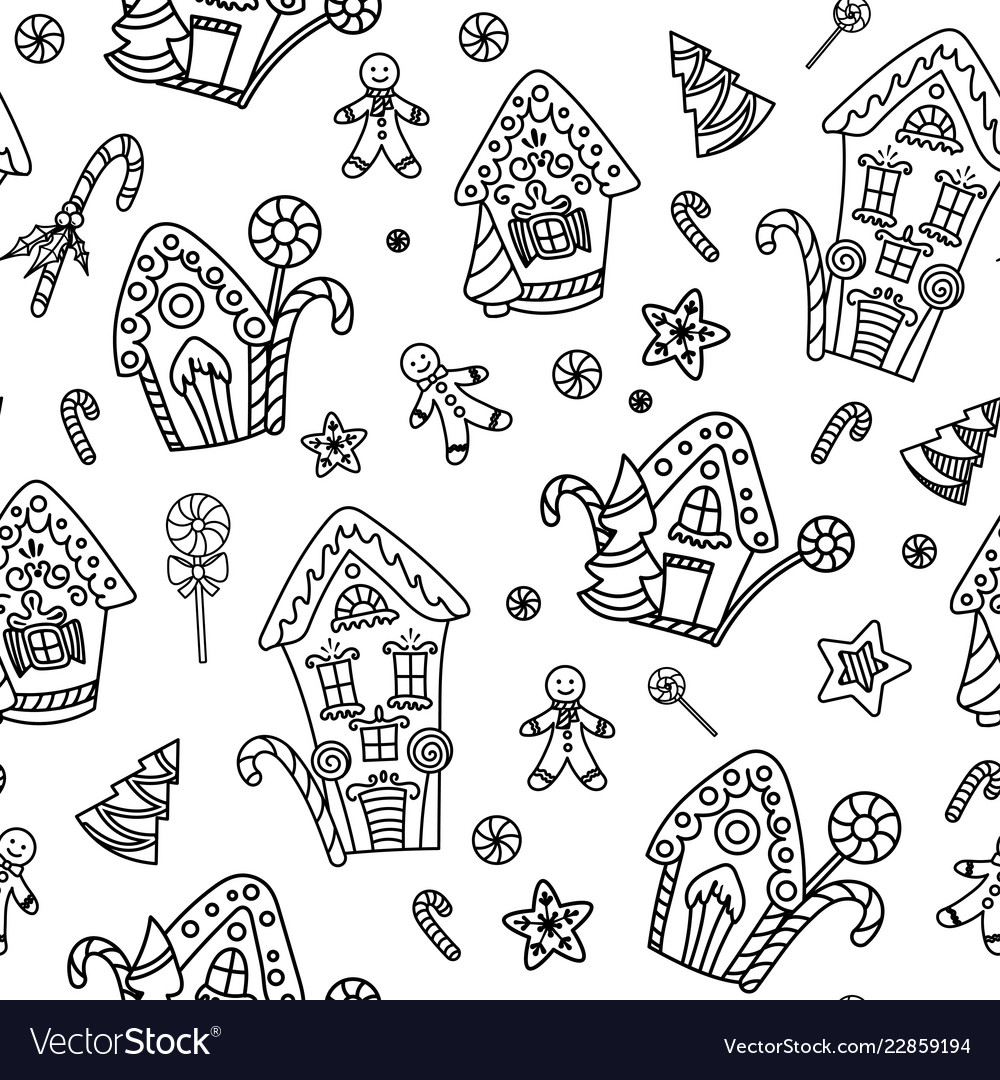 Christmas seamless pattern with gingerbread house