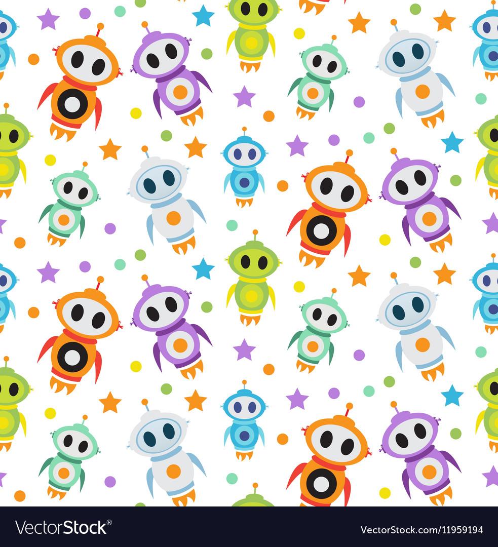 Cute kids seamless pattern robot rocket Children