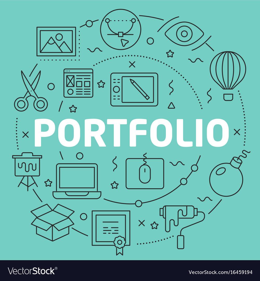 Green line flat circle portfolio