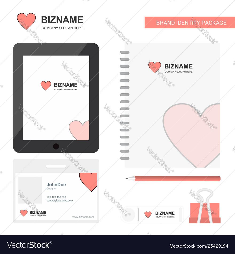 Heart business logo tab app diary pvc employee