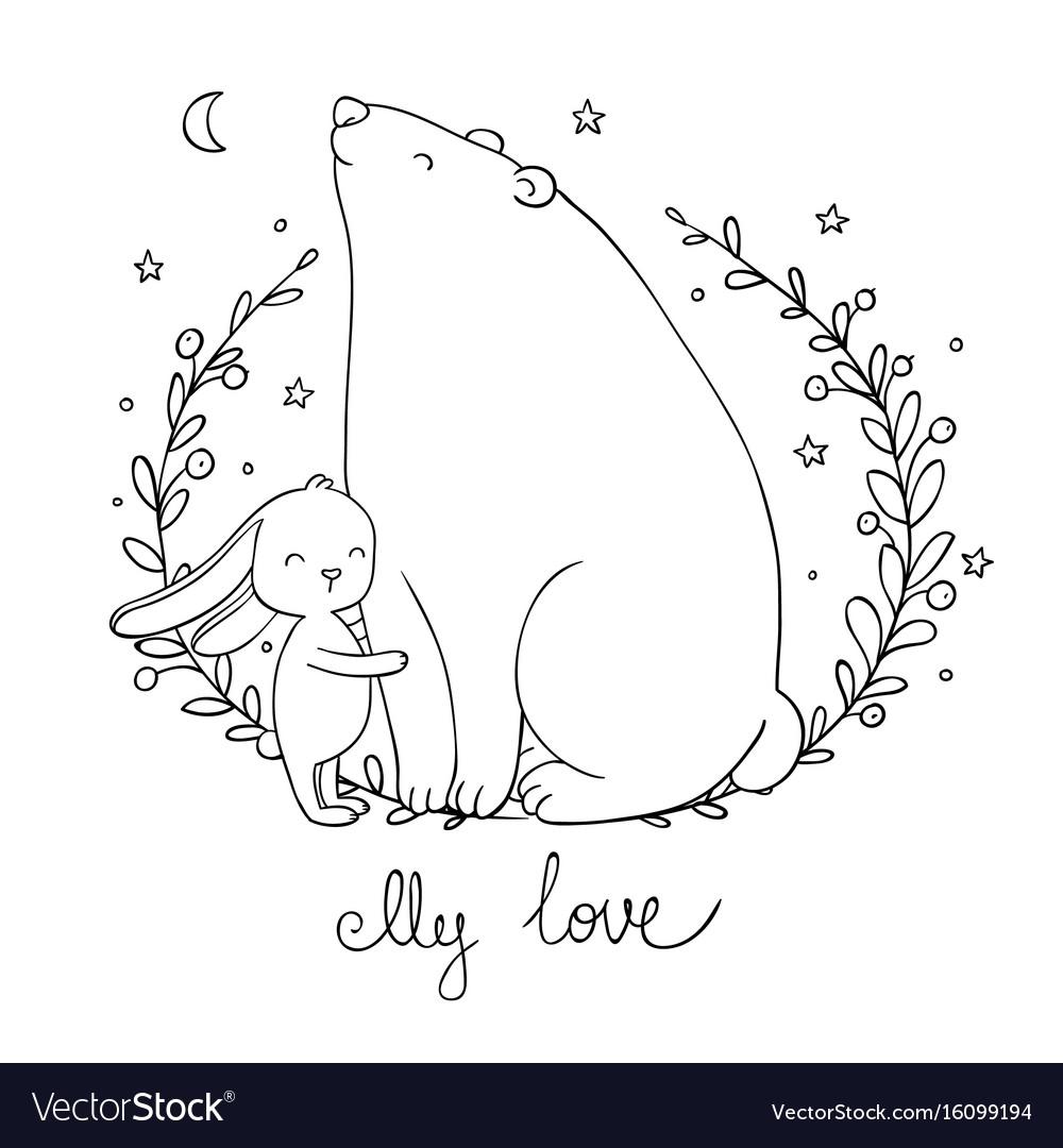 Lovely cartoon bear and hare happy animals