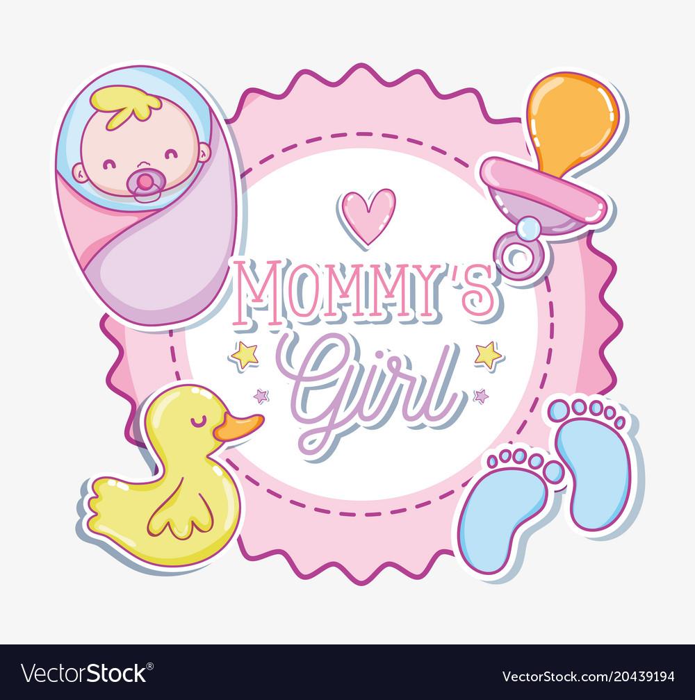 Mommys Girl Cartoon Vector Image