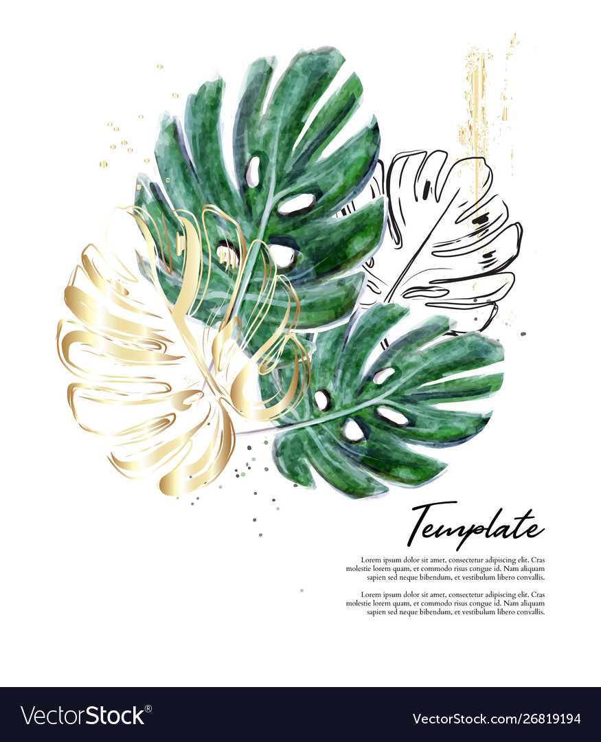 Monstera hand-drawn watercolor with gold foil