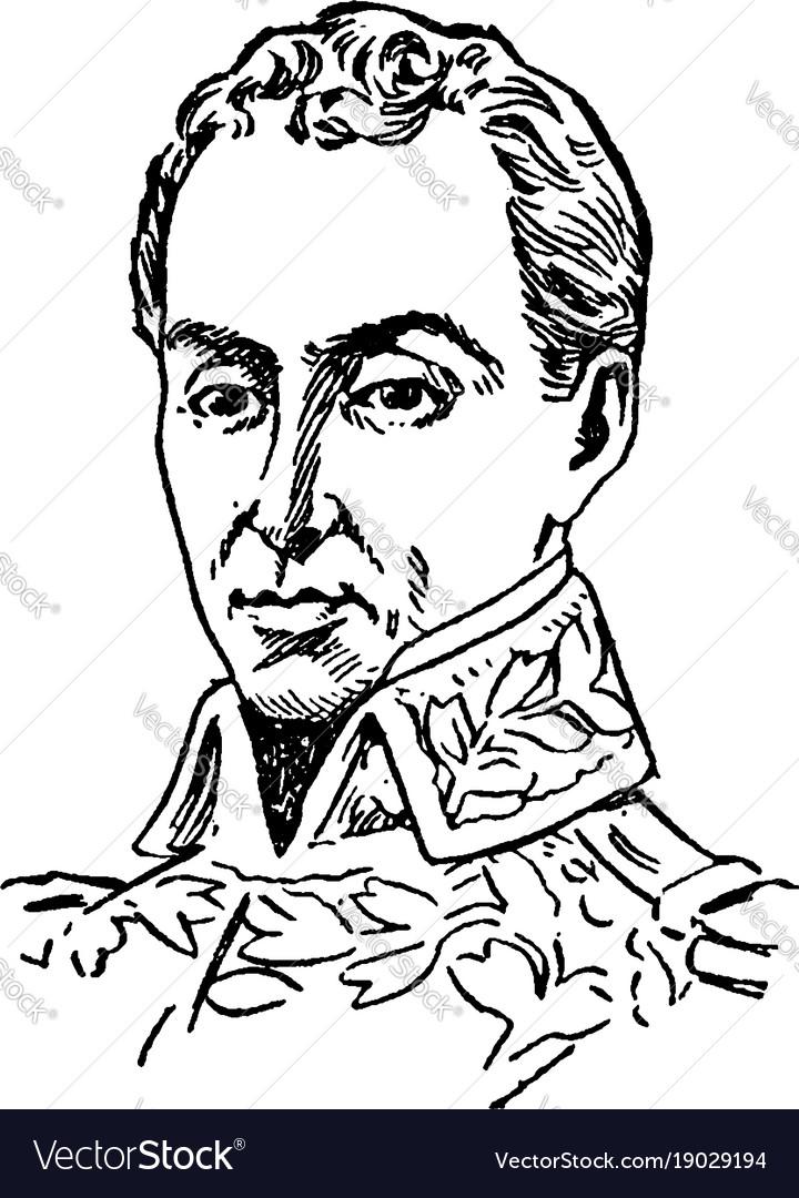 Simon Bolivar Vintage Royalty Free Vector Image