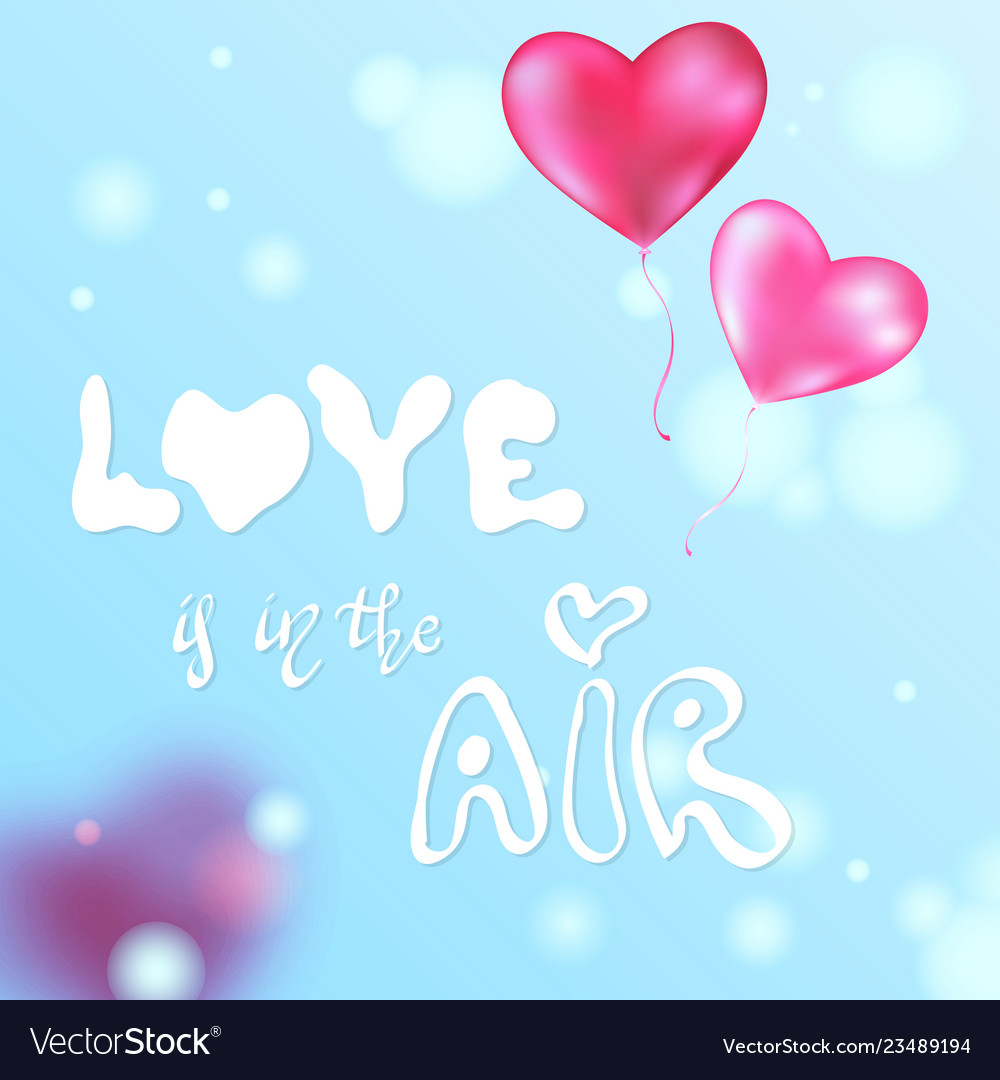 Valentines pink heart balloons poster
