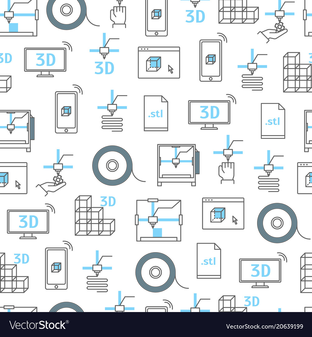 3d printing seamless pattern background vector image