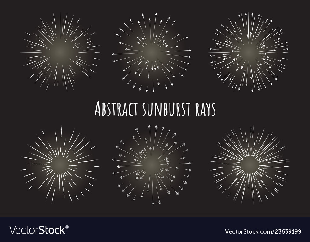 Abstract sunburst rays with arrows different type